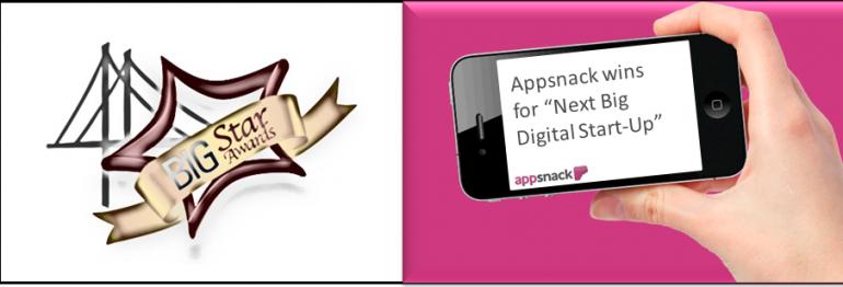 "Appsnack wins sfBIG's Big Star ""Next Big Digital Start-Up"" award"